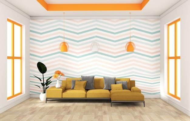 Projeto moderno da parede verde da hortelã com o aparador do sofá no interior de madeira do assoalho. renderização em 3d