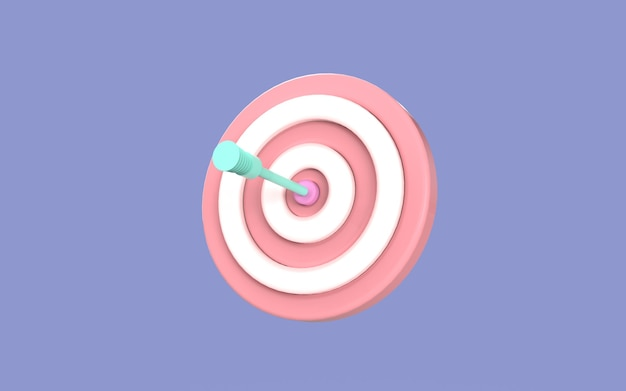 Projeto símbolo seta placa alvo ilustração fofa estratégia negócios renderização em 3d