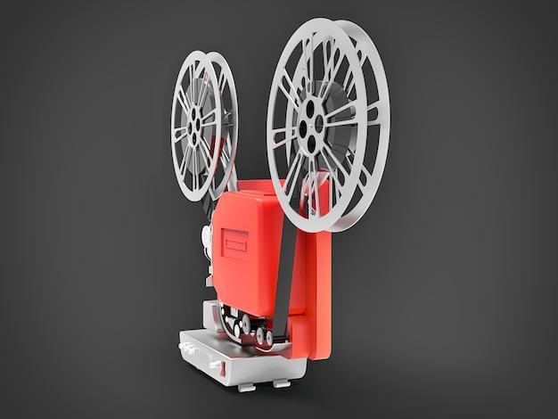 Projetor de cinema 3d vermelho isolado renderização em 3d