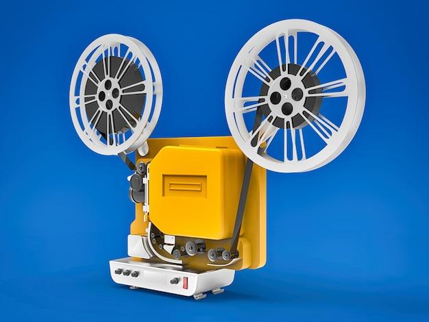 Projetor de filme amarelo do cinema 3d isolado no fundo azul. renderização em 3d.