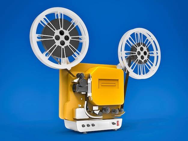 Projetor de filme de cinema 3d amarelo isolado na superfície azul