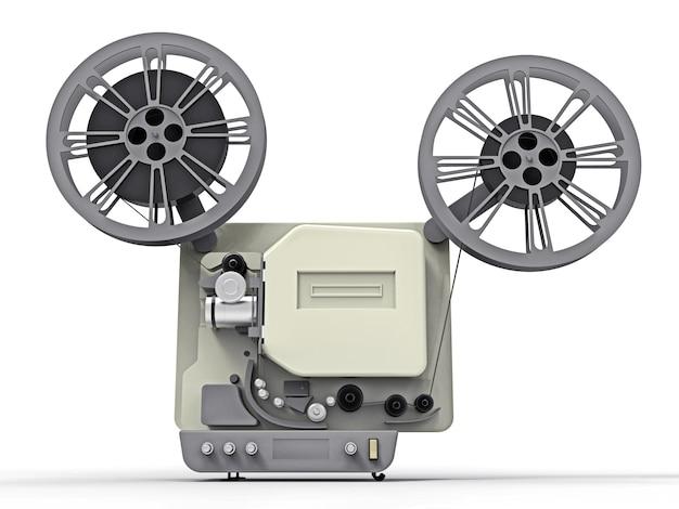 Projetor de filme de cinema 3d isolado no fundo branco. renderização em 3d.