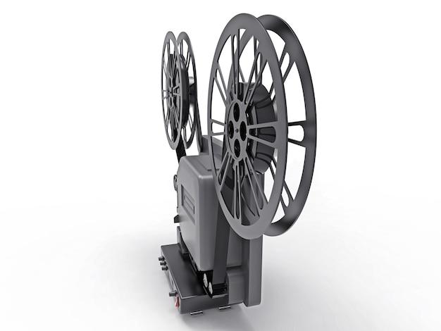 Projetor de filme de cinema 3d preto isolado no fundo branco. renderização 3d.