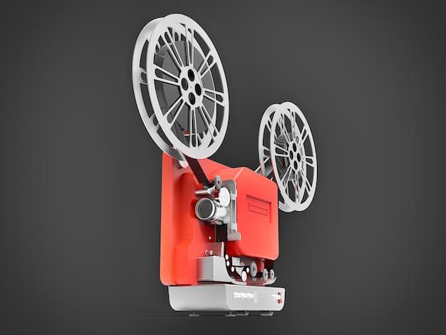 Projetor de filme de cinema 3d vermelho isolado em fundo cinza. renderização 3d.
