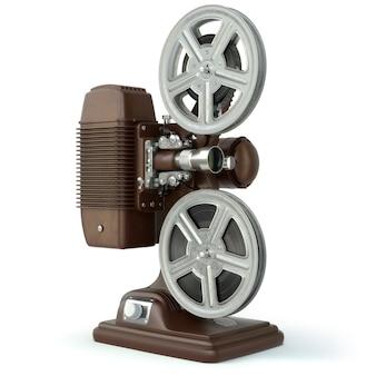 Projetor de filme de filme vintage isolado no branco. 3d