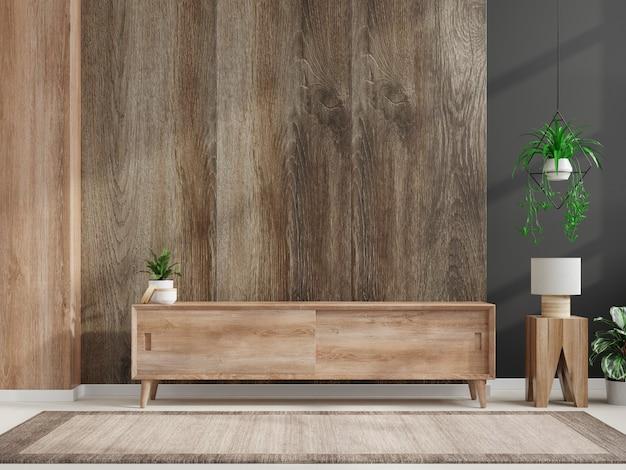Projetos de gabinete de tv para sala de estar na índia na parede de madeira, renderização em 3d