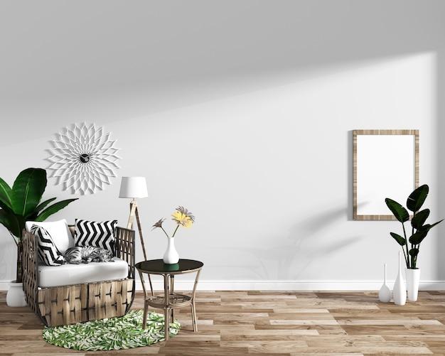 Projetos mínimos interiores tropicais da sala de visitas moderna
