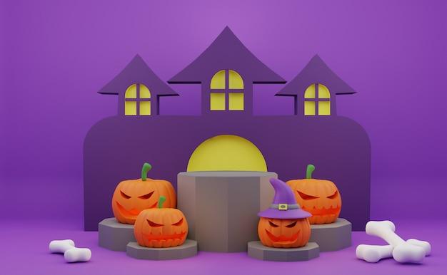 Promoção de pódio de halloween de renderização 3d com fundo de casa assombrada de abóbora personagem assustadora