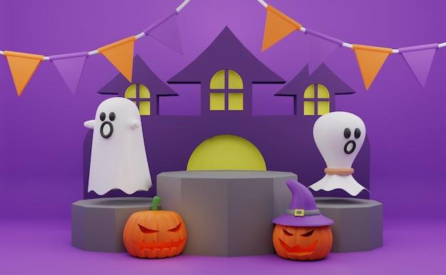 Promoção de pódio de halloween de renderização 3d com fundo de casa assombrada de fantasma de abóbora de personagem assustador