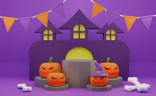 Promoção de pódio de halloween de renderização 3d com fundo de casa assombrada de ossos de abóbora de personagem assustador