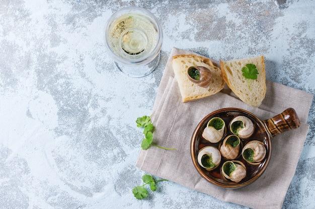 Pronto para comer caracóis escargots de bourgogne