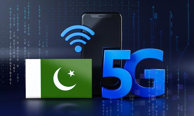Pronto para o conceito de conexão 5g. fundo de tecnologia de smartphone de renderização 3d