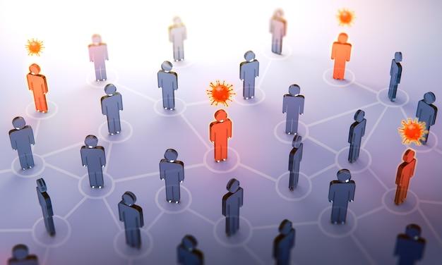 Propagação do coronavírus. rota de infecção entre pessoas.