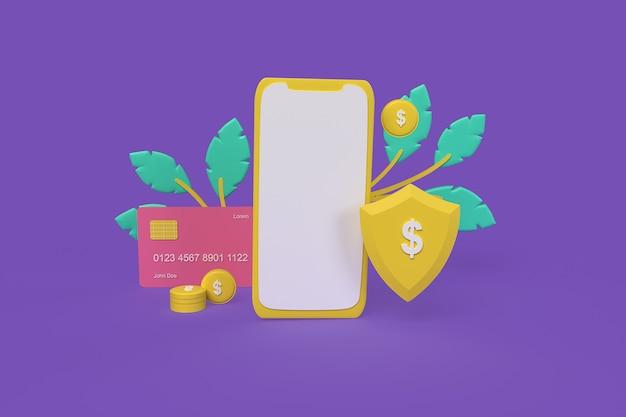 Proteção de pagamento por conceito de telefone ilustração de renderização 3d de estilo de argila