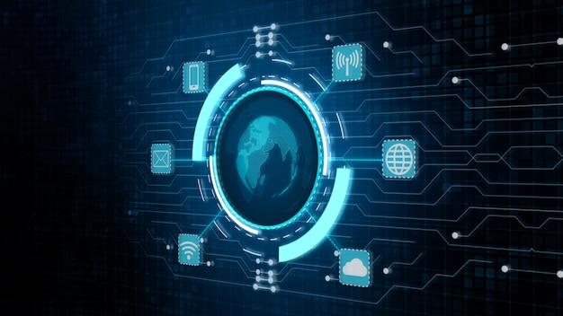 Proteger a rede global, rede de tecnologia e conceito de segurança cibernética.