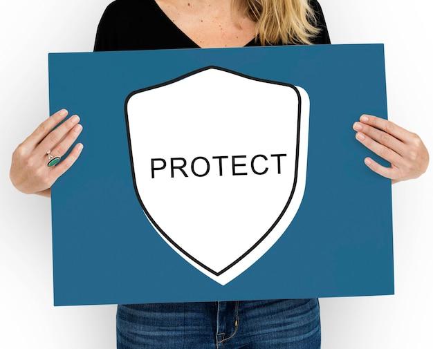 Proteger os símbolos dos ícones gráficos do guarda-chuva de segurança da guarda