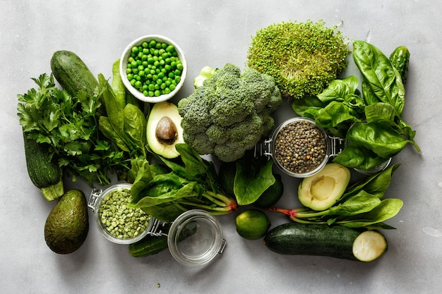 Proteínas de origem vegetariana vista superior alimentos saudáveis alimentação limpa