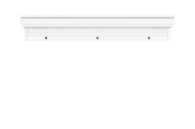 Proteja a garagem branca e o sistema de venezianas de loja em um fundo branco. renderização 3d