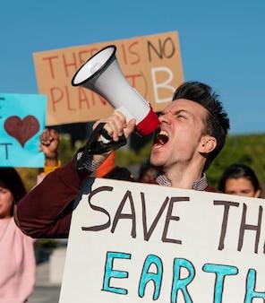 Protesto ambiental de perto