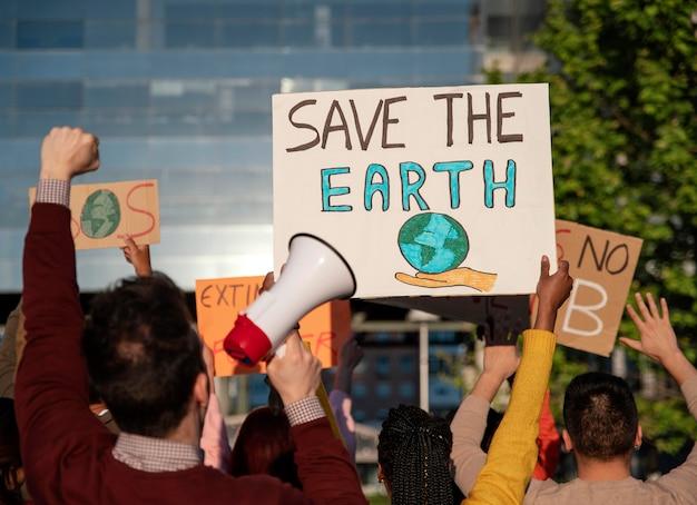 Protesto contra o aquecimento global de perto