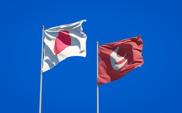 Província de hiroshima e bandeiras do japão. arte 3d