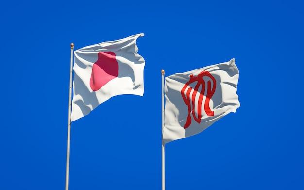 Província de kanagawa e bandeiras do japão. arte 3d