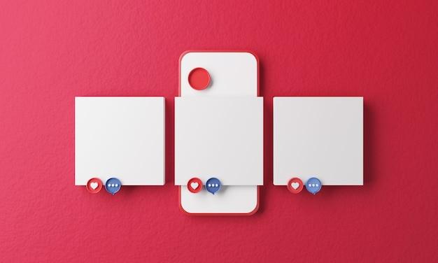Publicar modelo em branco no aplicativo com mídia social no celular
