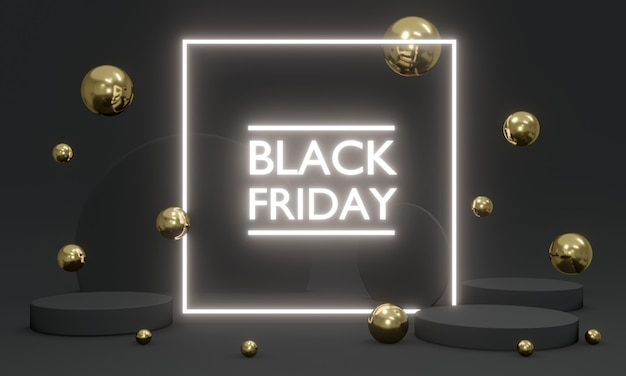 Publicidade de renderização 3d black friday com luz futurista led com elementos flutuando no conceito de plano de fundo da promoção de black friday. renderização 3d. ilustração 3d.