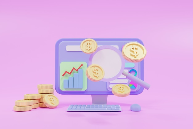 Publicidade ppc e marketing de busca de conceito de conversão, banner plano de publicidade pay-per-click. ilustração 3d