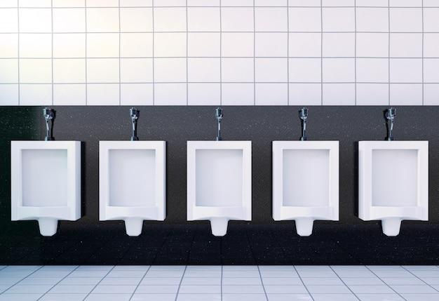 Público banheiro masculino interior de sala com mictórios brancos, renderização em 3d