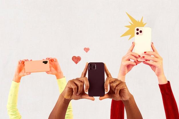Público da mídia social filmando multidão por meio de mídias remixadas de smartphones