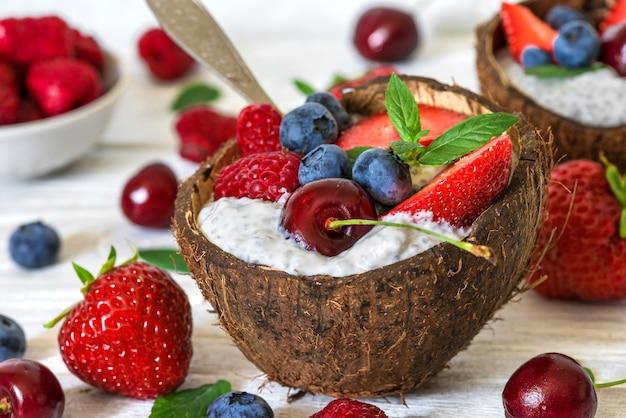 Pudim de chia com frutas frescas, nozes, aveia e hortelã em tigelas de coco com uma colher. café da manhã saudável