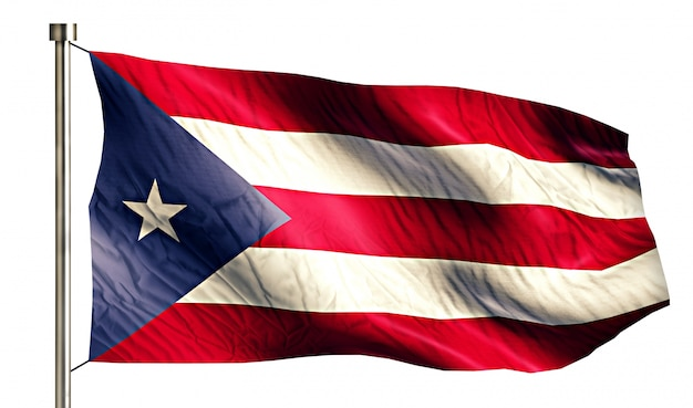 Puerto rico national flag isolated 3d fundo branco