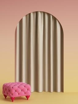 Pufe rosa em estilo moderne no quarto rosa com arco e cortina