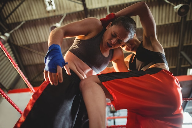 Pugilistas femininos lutando no ringue de boxe