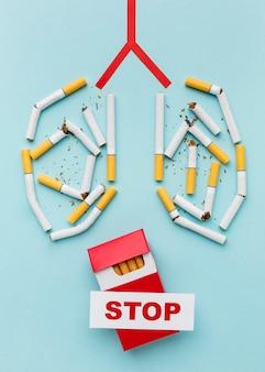 Pulmões formados de cigarros