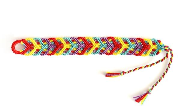 Pulseira de amizade de tecido diy com padrão colorido brilhante