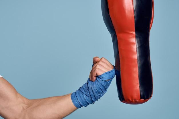 Punching bag punch training boxe exercício bandagens.
