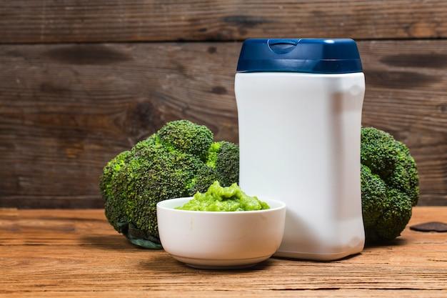 Purê de brócolis, alimento suplementar para crianças, purê de legumes