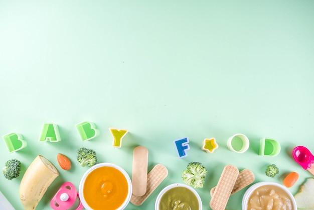 Purê de comida para bebê colorido