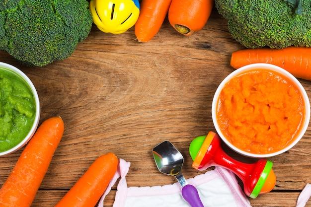 Purê de legumes, purê de cenoura, purê de brócolis