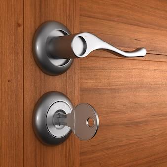 Puxador e porta de madeira. ilustração 3d