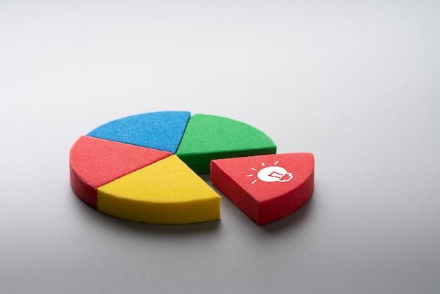 Puzzles de gráfico de pizza colorido de negócios e estratégia