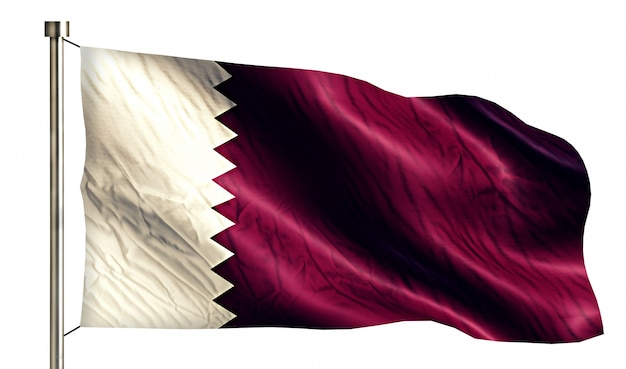 Qatar national flag isolated 3d fundo branco