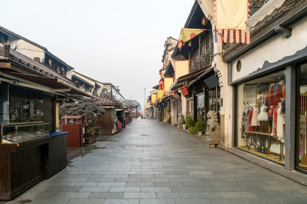 Qinghefang antiga rua vista na cidade de hangzhou província de zhejiang china
