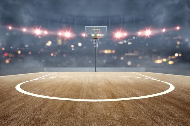 Quadra de basquete com piso de madeira e holofotes