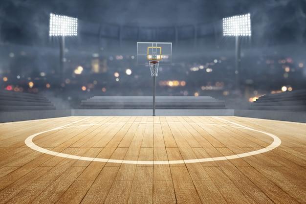Quadra de basquete com piso de madeira, refletores de luzes e tribuna