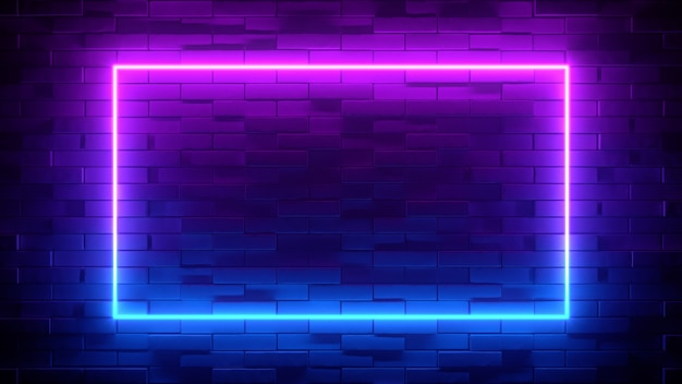 Quadrado de néon azul e roxo no fundo preto da parede de tijolos