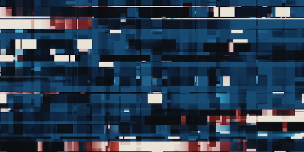 Quadrado de pixels azul led pixel background ilustração 3d