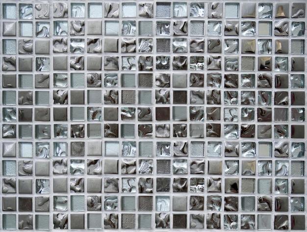Quadrado de prata brilhante do teste padrão das telhas de mosaico para o fundo da textura.